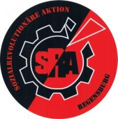 """Zum Aufkleber """"SRA - Sozialrevolutionäre Aktion Regensburg"""" für 1,20 € gehen."""