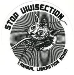 """Zum Aufkleber """"Stop Vivisection! Animal Liberation Now!!!"""" für 1,00 € gehen."""