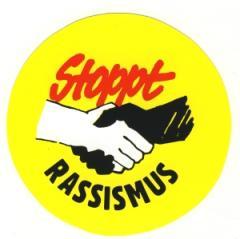 """Zum Aufkleber """"Stoppt Rassismus"""" für 1,00 € gehen."""