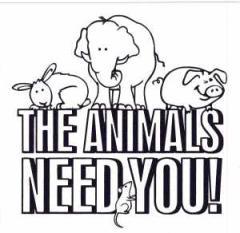 """Zum Aufkleber """"The Animals Need You!"""" für 0,97 € gehen."""
