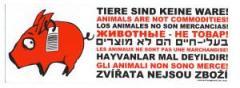 """Zum Aufkleber """"Tiere sind keine Ware"""" für 0,97 € gehen."""