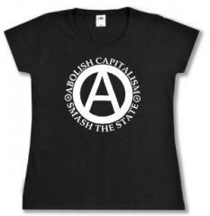 """Zum tailliertes T-Shirt """"Abolish Capitalism - Smash The State"""" für 14,00 € gehen."""