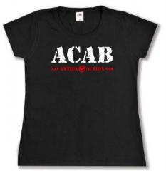 """Zum tailliertes T-Shirt """"ACAB Antifa Action"""" für 14,00 € gehen."""