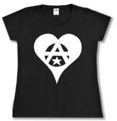 """Zum tailliertes T-Shirt """"Anarchie Herz"""" für 14,00 € gehen."""
