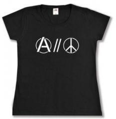 """Zum tailliertes T-Shirt """"Anarchy and Peace"""" für 14,00 € gehen."""