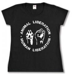 """Zum tailliertes T-Shirt """"Animal Liberation - Human Liberation"""" für 14,00 € gehen."""