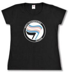 """Zum tailliertes T-Shirt """"Anti-Transphobia Action"""" für 14,00 € gehen."""