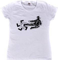 """Zum tailliertes T-Shirt """"Antifa / Autonom"""" für 15,00 € gehen."""