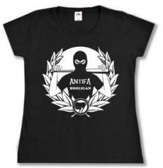 """Zum tailliertes T-Shirt """"Antifa Hooligan"""" für 16,00 € gehen."""