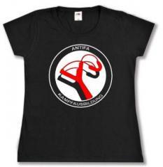 """Zum tailliertes T-Shirt """"Antifa Kampfausbildung"""" für 17,55 € gehen."""