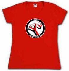 """Zum tailliertes T-Shirt """"Antifa Kampfausbildung (rot)"""" für 17,55 € gehen."""