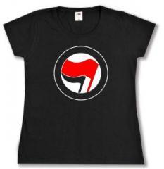 """Zum tailliertes T-Shirt """"Antifa Logo (rot/schwarz, ohne Schrift)"""" für 13,65 € gehen."""