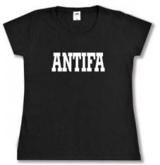 """Zum tailliertes T-Shirt """"Antifa Schriftzug"""" für 14,00 € gehen."""