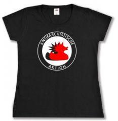 """Zum tailliertes T-Shirt """"Antifaschistische Aktion (Enten)"""" für 14,00 € gehen."""
