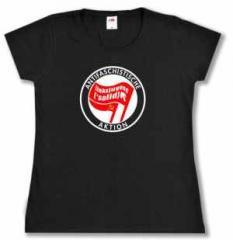 """Zum tailliertes T-Shirt """"Antifaschistische Aktion Linksjugend"""" für 15,60 € gehen."""