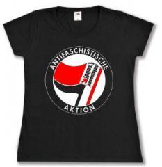 """Zum tailliertes T-Shirt """"Antifaschistische Aktion - linksjugend [´solid]"""" für 16,00 € gehen."""