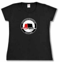 """Zum tailliertes T-Shirt """"Antifaschistische Aktion (Notebooks)"""" für 14,62 € gehen."""
