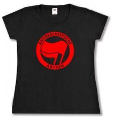 """Zum tailliertes T-Shirt """"Antifaschistische Aktion (rot/rot)"""" für 13,65 € gehen."""