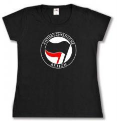 """Zum tailliertes T-Shirt """"Antifaschistische Aktion (schwarz/rot)"""" für 13,65 € gehen."""