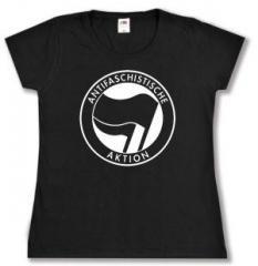"""Zum tailliertes T-Shirt """"Antifaschistische Aktion (schwarz/schwarz)"""" für 14,00 € gehen."""