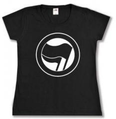 """Zum tailliertes T-Shirt """"Antifaschistische Aktion (schwarz/schwarz) ohne Schrift"""" für 14,00 € gehen."""