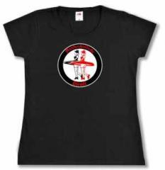 """Zum tailliertes T-Shirt """"Antifaschistische Dirndl"""" für 13,65 € gehen."""