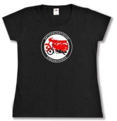 """Zum tailliertes T-Shirt """"Antifaschistische Simsonfahrer"""" für 14,62 € gehen."""