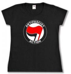 """Zum tailliertes T-Shirt """"Antifascist Action (rot/schwarz)"""" für 14,00 € gehen."""