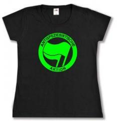 """Zum tailliertes T-Shirt """"Antispeziesistische Aktion (grün/grün)"""" für 14,00 € gehen."""