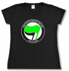 """Zum tailliertes T-Shirt """"Antispeziesistische Aktion (grün/schwarz)"""" für 14,00 € gehen."""