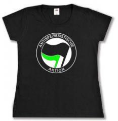 """Zum tailliertes T-Shirt """"Antispeziesistische Aktion (schwarz/grün)"""" für 14,00 € gehen."""