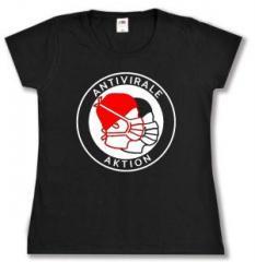 """Zum tailliertes T-Shirt """"Antivirale Aktion - Mundmasken"""" für 14,00 € gehen."""