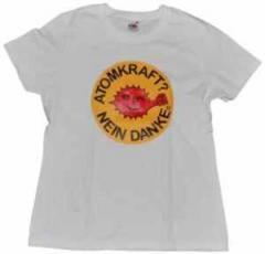 """Zum tailliertes T-Shirt """"Atomkraft? Nein Danke - mit Faust"""" für 13,65 € gehen."""