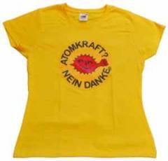 """Zum tailliertes T-Shirt """"Atomkraft? Nein Danke - mit Faust"""" für 14,00 € gehen."""