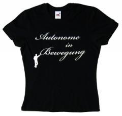 """Zum tailliertes T-Shirt """"Autonome in Bewegung"""" für 14,00 € gehen."""
