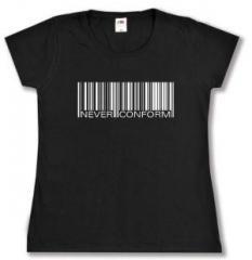"""Zum Girlie-Shirt """"Barcode - Never conform"""" für 13,00 € gehen."""