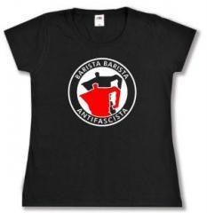 """Zum tailliertes T-Shirt """"Barista Barista Antifascista (Moka)"""" für 13,65 € gehen."""