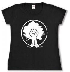 """Zum tailliertes T-Shirt """"Baumfaust"""" für 14,00 € gehen."""