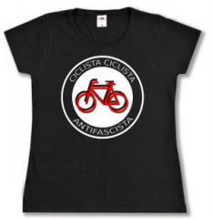"""Zum tailliertes T-Shirt """"Ciclista Ciclista Antifascista"""" für 14,00 € gehen."""