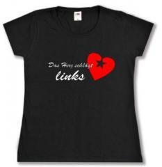 """Zum tailliertes T-Shirt """"Das Herz schlägt links"""" für 14,00 € gehen."""