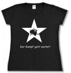 """Zum tailliertes T-Shirt """"Der Kampf geht weiter!"""" für 13,65 € gehen."""