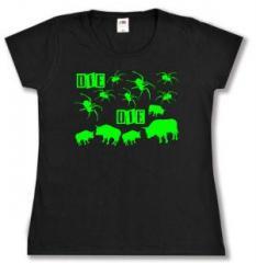 """Zum tailliertes T-Shirt """"Die Spinnen Die Bullen (grün)"""" für 14,00 € gehen."""