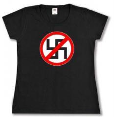 """Zum tailliertes T-Shirt """"Durchgestrichenes Hakenkreuz"""" für 13,65 € gehen."""