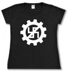 """Zum tailliertes T-Shirt """"EBM gegen Nazis"""" für 13,65 € gehen."""