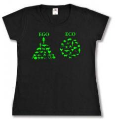 """Zum tailliertes T-Shirt """"Ego - Eco"""" für 13,65 € gehen."""