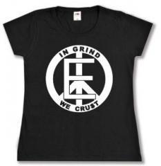 """Zum tailliertes T-Shirt """"Equality - In Grind We Crust"""" für 14,00 € gehen."""