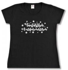 """Zum tailliertes T-Shirt """"Fantastisch Antifaschistisch (weiß)"""" für 13,65 € gehen."""