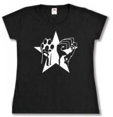 """Zum tailliertes T-Shirt """"Faust und Pfote - Stern"""" für 13,65 € gehen."""