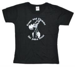 """Zum tailliertes T-Shirt """"Feuer und Flamme für jeden Staat"""" für 12,00 € gehen."""