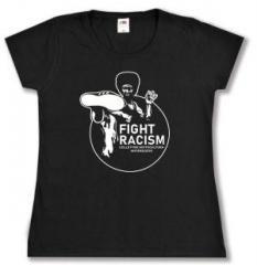 """Zum tailliertes T-Shirt """"Fight Racism - Collectivo Sottocultura Antifascista"""" für 14,00 € gehen."""